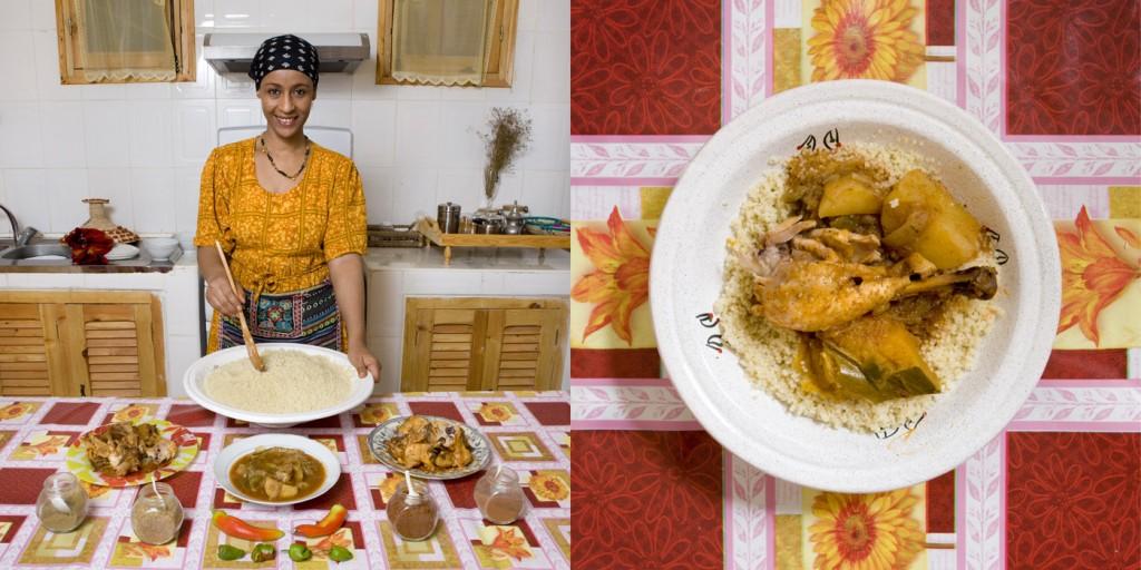Lebgaa Fanana, 42 years old. Timimoun, Algeria. Chicken and vegetables CuosCous.