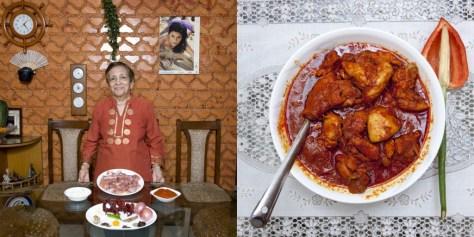 Grace Estibero, 82 years old. Mumbai, India. Chicken vindaloo.