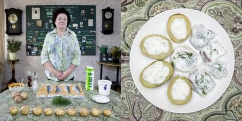 "Inara Runtule, 68 years old. Kekava, Latvia. Silke €"" (herring with potatoes and cottage cheese)."