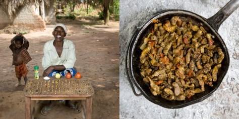 Regina Lifumbo, 53 years old. Mchinji, Malawi. Finkubala (Caterpillar in tomato sauce).