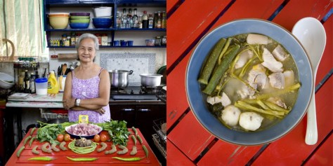 "Fernanda De Guia, 71 years old. Manila, Philippines. Sinigang €"" (tamarind soup with pork and vegetables)."
