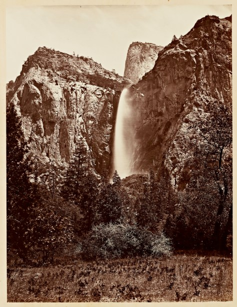 Carleton Watkins. Pohono, the Bridal Veil, Yosemite 900 ft., 1865–1866.