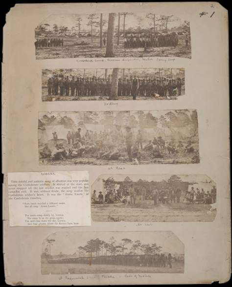 Jay Dearborn Edwards. Scrapbook 2, page 2 – Photographs by J.D. Edwards depicting Confederate soldiers drilling and at rest near Pensacola, Florida, and environs, c. 1861.
