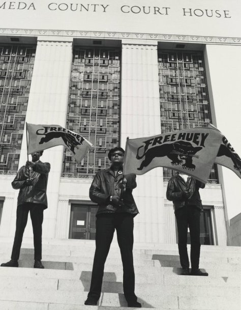 Pirkle Jones, Black Panther demonstration in front of the Alameda County Court House, Oakland, California, during Huey Newton's trial, July 30, 1968