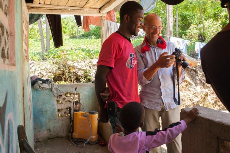 Pradip Malde and Zanmi Kafe/Foto collborator, Jean Phillipe Saintillus. Bois Jolie, Haiti. [photo by Brooke Irvine]