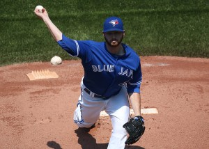 Drew Hutchison throws a pitch during the first inning of a game against the Boston Red Sox at Rogers Centre on May 9, 2015 (Tom Szczerbowski/Getty Images)