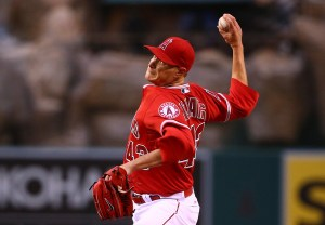 Garrett Richards delivers a pitch during the first inning of a game against the Texas Rangers at Angel Stadium on April 24, 2015 (Victor Decolongon/Getty Images)