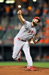 Matt Shoemaker throws a pitch during the first inning of a game against the Baltimore Orioles at Camden Yards on May 16, 2015 (Greg Fiume/Getty Images)