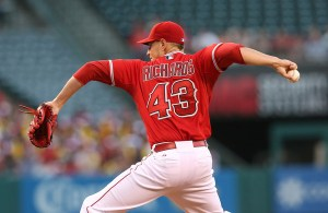 Garrett Richards delivers a pitch during a game against the Tampa Bay Rays at Angel Stadium on June 1, 2015 (Stephen Dunn/Getty Images)
