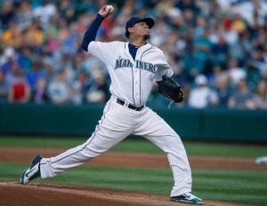 Felix Hernandez delivers a pitch during the first inning of a game against the Kansas City Royals at Safeco Field on June 22, 2015 (Otto Greule, Jr./Getty Images)