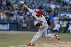 Matt Shoemaker delivers a pitch during the first inning of a game against the Oakland Athletics at O.co Coliseum on June 19, 2015 (Brian Bahr/Getty Images)