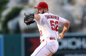 Matt Shoemaker delivers a pitch during a game against the Seattle Mariners at Angel Stadium on June 26, 2015 (Stephen Dunn/Getty Images)