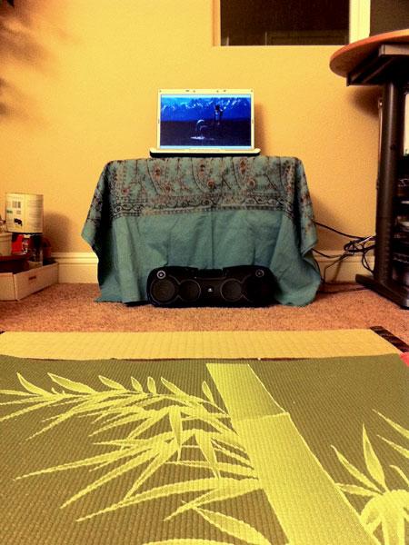 Makeshift yoga station