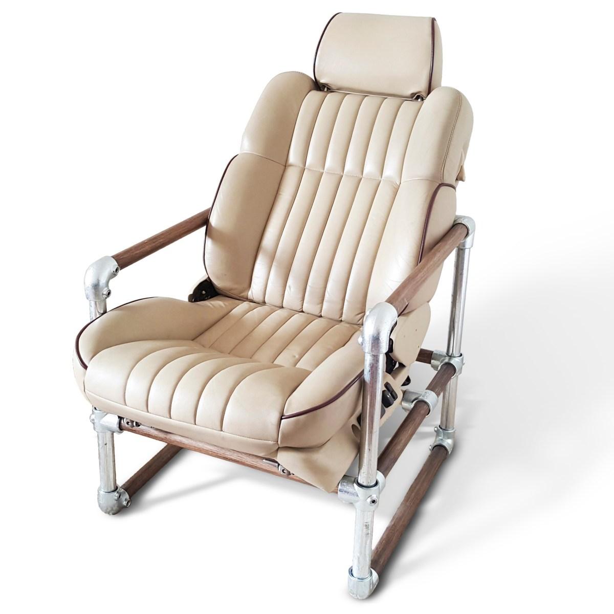 Leather Car Seat Scaffold Oak Industrial Rustic Armchair