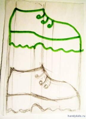 Нарисуем второй ботинок