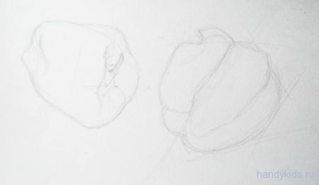 Перцы рисунок карандашом