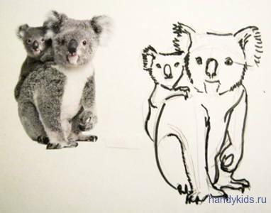 Коала с детёнышем рисунок
