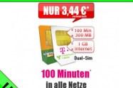 Dual Sim Angebot! 100 Min + 1,3 GB Telekom nur 3,44€ mtl.
