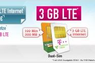 Dual Sim Deal: 100 Min + 3 GB LTE Internet Telekom 6,94€ mtl.