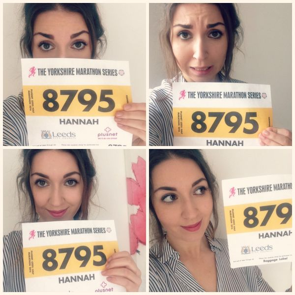collage of girl holding race day number