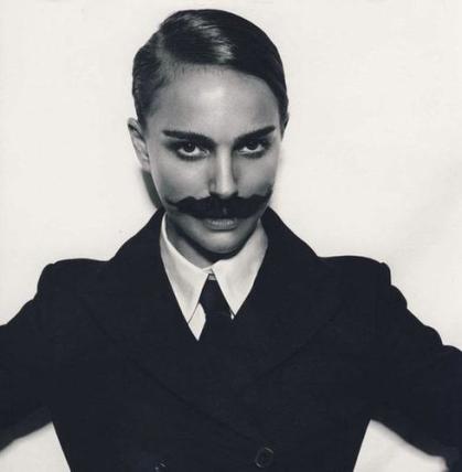 portman with a moustache