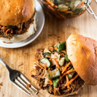 Slow Cooker Korean Pulled Pork Sandwich