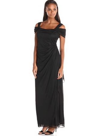 Alex Evenings Women's Long Mesh Cold Shoulder Dress