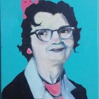 """6th Grade Teacher 1965, oil on canvas, 9x12,"""" 2015"""
