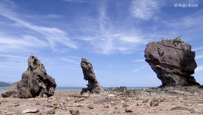 This is a sea stack. It used to be part of a headland. Over a long period of time and countless waves has shaped it into what we now see today.