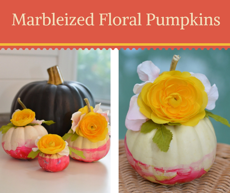 Marbleized Floral Pumpkins Colorful Fall Decor