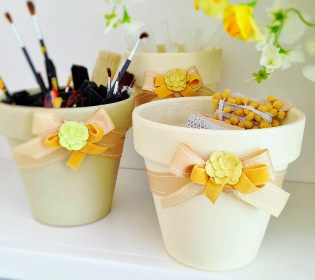 Clay Pots DIY Terracotta Painted Pots Storage Containers Upcycle