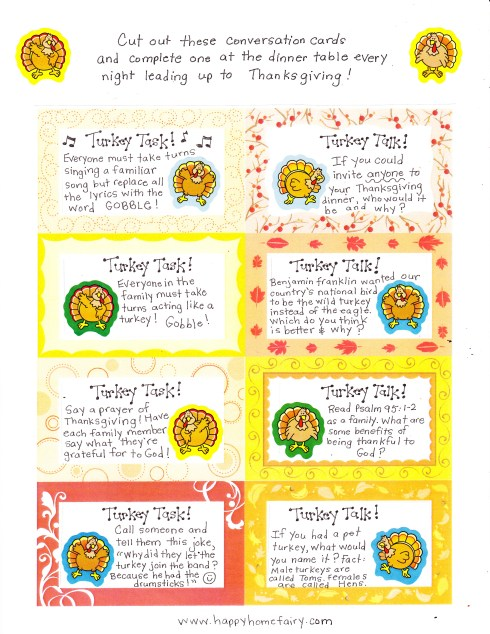 Thanksgiving Conversation Cards FREE Printables Happy