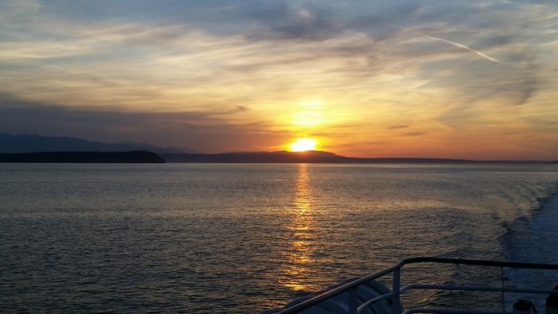 Sunset from the Victoria Clipper ferry returning to Seattle