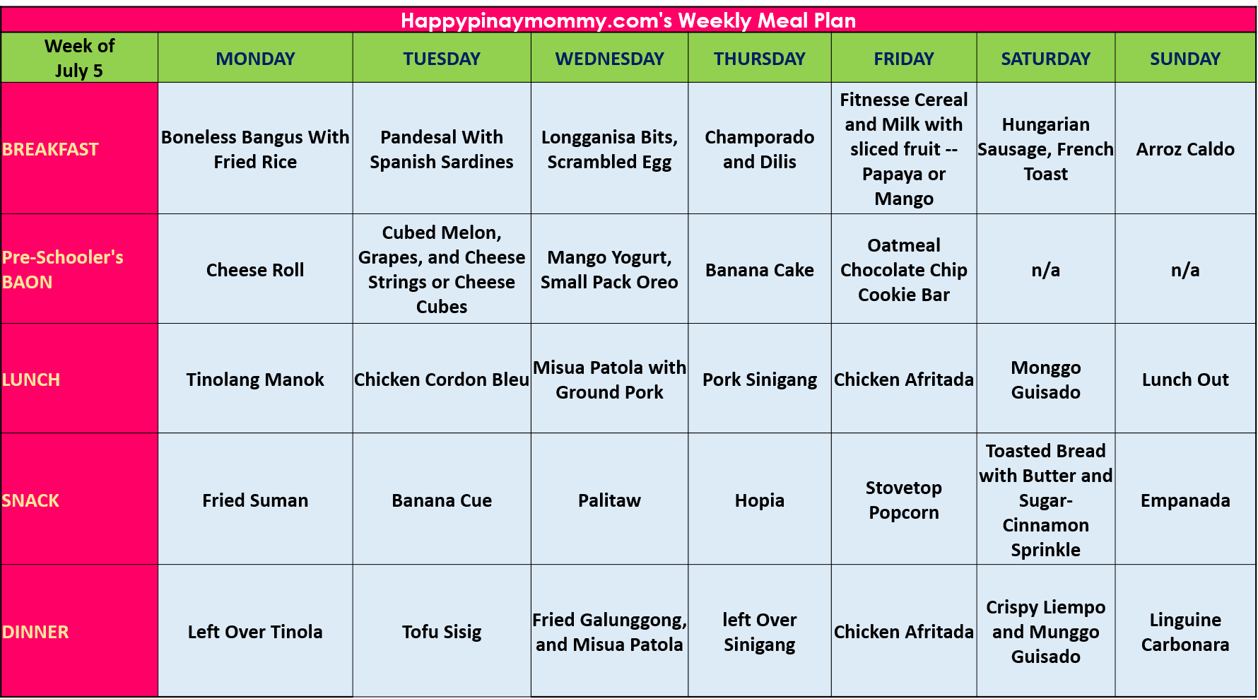 Happy Pinay Mommy S Weekly Meal Plan 4 Happy Pinay Mommy
