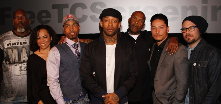 """Ty Dolla $ign and panel (from left to right) Marcus """"Big Ship"""" Bell of My Anti Gang, Sabra Williams, Founder of The Actors Gang Prison Project, Obie Anthony, Big Boy, radio personality on 92.3 KDAY, James Anderson of Anti-Recidivism Coalition, and Michael De La Rocha of Revolve Impact"""