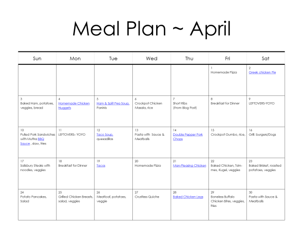 Meal Plan for April | Hardly A Goddess