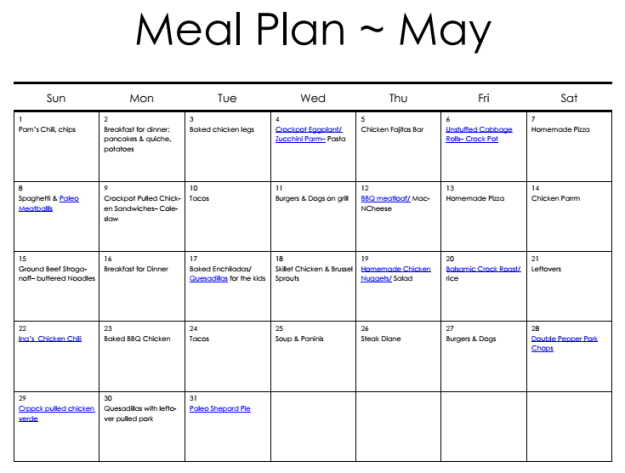Meal Plan May Calendar | Hardly A Goddess