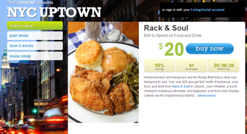 Today Only – Get 50% Discount on Dinner at Rack & Soul !