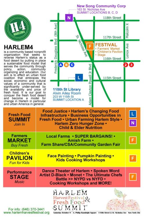 "h4 festival poster2 Harlem Harvest Festival ""FRESH FOOD SUMMIT"" This Saturday"