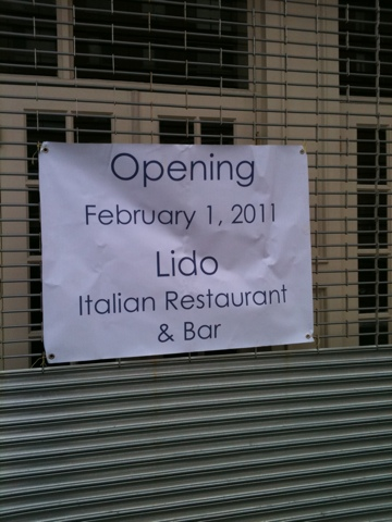 Lido Italian Restaurant & Bar to open in February