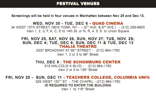 African Diaspora International Film Festival (ADIFF) Schedule 2011 2012