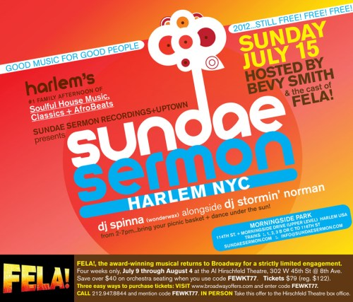 Sundae Sermon This Sunday July 15th at Morningside Park!