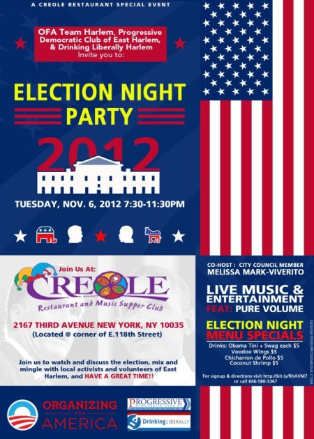 Election Party at Creole Restaurant and Music Supper Club