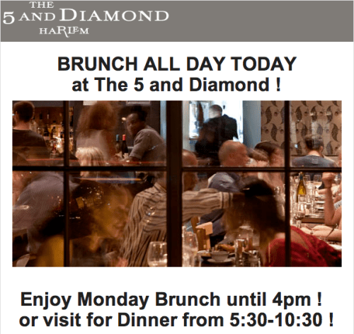 Brunch All Day Today at The 5 and Diamond !