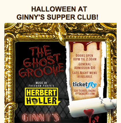 Get Your Ghost On This Halloween at Ginnys Supper Club!