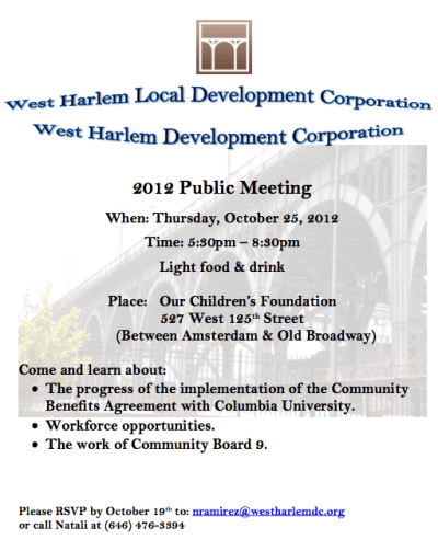 West Harlem Local Development Corporation   2012 Public Meeting