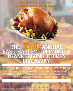 Ricardo Steak House   East Harlem Community Thanksgiving Giveaway Today!