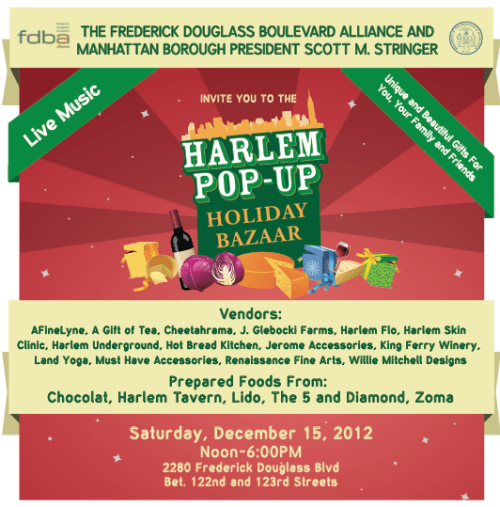 HARLEM POP UP HOLIDAY BAZAAR 12/15/12