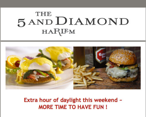 Screen Shot 2013 03 09 at 4.34.25 PM The 5 And Diamond Harlem   Saturdays & Sunday Brunch!