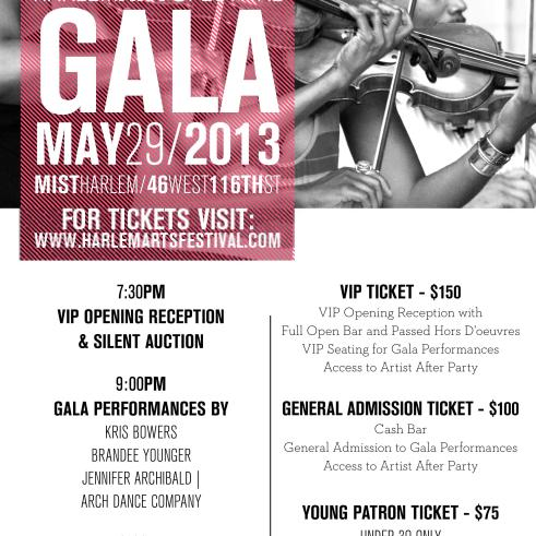Harlem Arts Festivals Annual Fundraising Gala May 29th